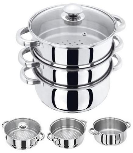 24CM 3 TIER STAINLESS STEEL MULTI STEAMER VEG COOKER POT PAN SET WITH GLASS LID CHN
