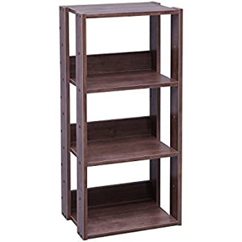 IRIS USA 3 Tier Open Wood Bookshelf Dark Brown
