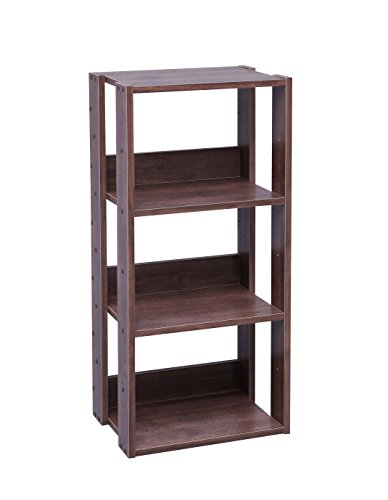 IRIS Mado 3-Shelf Open Wood Shelving Unit, Brown - Narrow 3 Shelf Bookcase