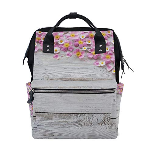 Chrysanthemum and Cherry Blossoms Pink Petals On Wooden Diaper Bag Backpack, Large Capacity Muti-Function Travel Backpack Nappy Bags Travel Mom Backpack for Baby ()