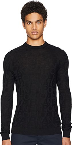 Emporio Armani  Men's Striped Pullover Sweater Black (Striped Wool Pullover)