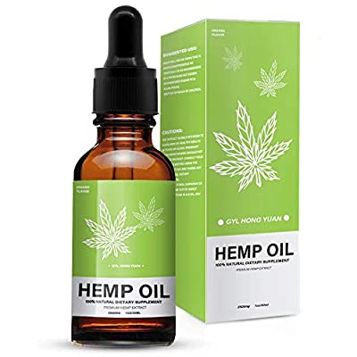 Hemp Oil for Pain, Stress & Anxiety Relief, Natural Organic Hemp Oil Drops for Better Sleep by Guosurelly