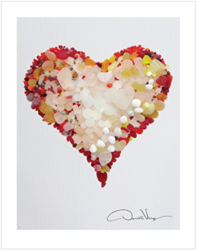 LOVE - Rare Red Sea Glass Heart Poster Print. 11x14 Great For Framing. Best Quality Gifts From the Heart Collection. Unique Birthday, Christmas & Valentines Gifts for Women, Men and Kids of All Ages Heart Shell Necklace Set
