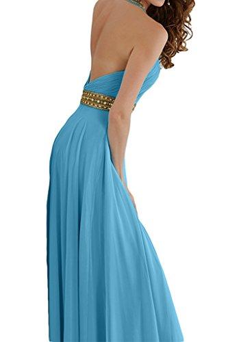ivyd ressing Mujer a de línea Neck Holder con piedras gasa vestido de fiesta Prom vestido para vestido de noche Azul