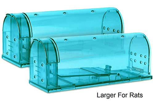 Large Humane Rat Traps, Set of 2, Catch and Release Chipmunks Into The Wild, Cruelty Free Live Capture Plank Trap, Smart No Kill House Rodent Cage, Safe Pest Control Alternative from Glue and Poison