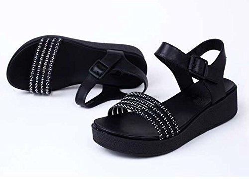 Gtvernh-a Sandales De Mode Femme D'été Coréenne Un Condominium De Luxe Correspond À Toutes Les 36 Chaussures En Cristal Noir