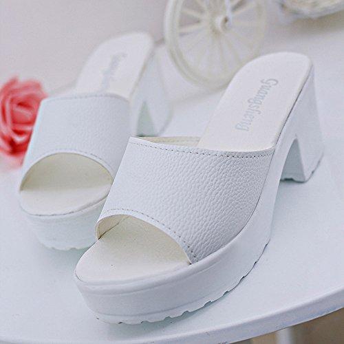 Sandales Cheville Chaussures Blanc Femmes forme FemmesTalon Alikeey De À Paille Wedges Sandale Plateforme Dames Talons Unie Plate Pantoufles Hauts Compensé Couleur Sangle Tongs Pour IYf6bgyv7