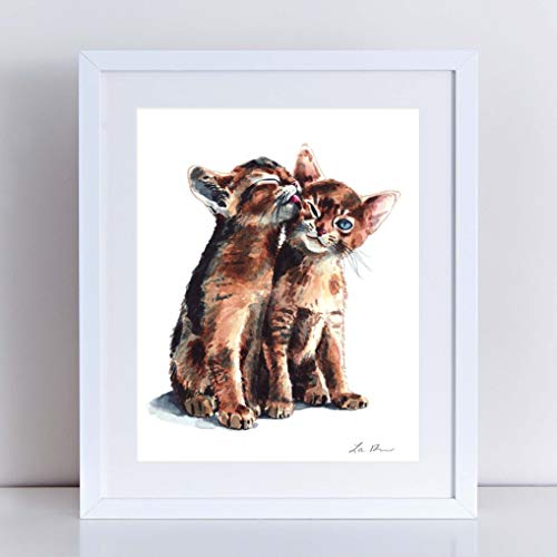 Abyssinian Kittens Art Print Watercolor Painting Wall Home Decor Kitten Painting Cat Lover Gift Illustration Kiss Friendship Best Friends Love Blue Eyes Nursery Kids Room