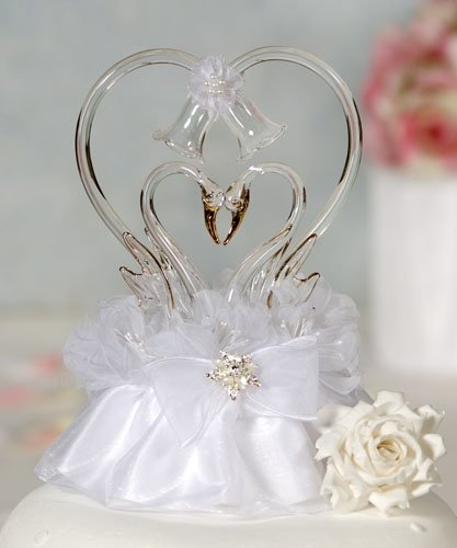 Blown Glass Cake Toppers - Glass Swan Cake Topper with Heart: Skirt Color: Ivory