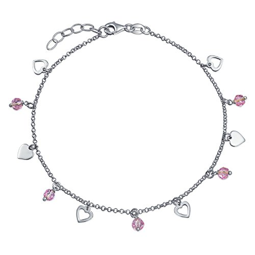 Multi Heart Crystal Pink Anklet Dangle Charms Anklet Ankle Bracelet For Women 925 Sterling Silver Adjustable 9 To 10 In