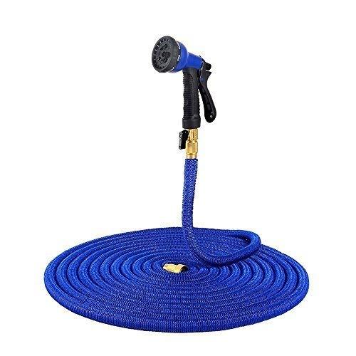 50 FT Expanding Garden Hose, Ohuhu Expandable Hoses, Lightweight Strong Water Hose, Flexible Garden Hose Bonus 8-Pattern Spray Nozzle, Blue