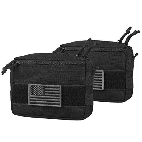 AMYIPO MOLLE Pouch 7×5×1.5 Multi-Purpose Compact Tactical Waist Bags Utility Pouch (Black (2 PCS))