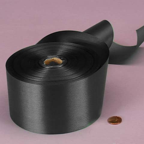 Black Embossed Poly Satin Ribbon, 2-3/4