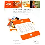 """GBC Laminating Sheets / Pouches, HeatSeal Ultra Clear, Letter Size, 11-1/2""""x9"""", 3 Mil, 100 Pack (3200401)"""