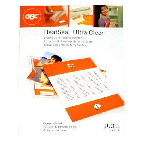 (GBC Laminating Sheets / Pouches, HeatSeal Ultra Clear, Letter Size, 11-1/2