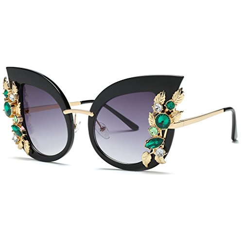 Bettal Rhinestone Studded Cat Eye Rectangular Designer Fashion Sunglasses for Women (Rhinestone Designer Sunglasses)