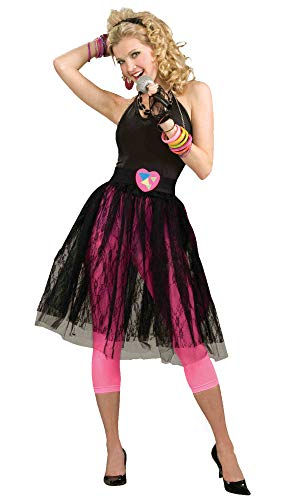 (Woman's 80's Pop Star Skirt, Black, One Size)