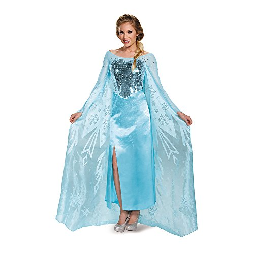 Disguise Women's Elsa Ultra Prestige Adult Costume, Blue,