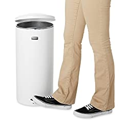 Rubbermaid Commercial FGST5EGLWH The Defenders Steel Step Trash Can with Galvanized Liner, 5-Gallon, White