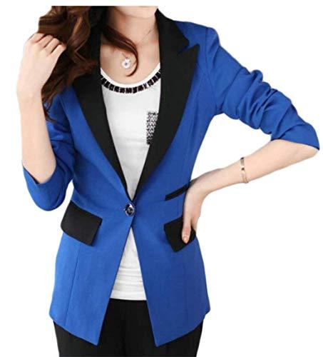 Business Di Tailleur Lunga Manica Giubotto Blau Solidi Tasche Da Autunno Giacca Moda Button Donna Anteriori Coat Camicia Bavero Colori Chic FqEgaF4w
