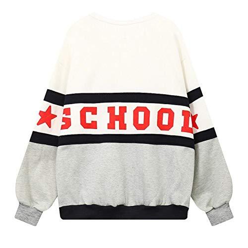 Sweater Señoras Tops Hooded De Calientes Plus Warm Blanco Loose Moda Las Y Velvet Colorblock Cálido wpvTUvaqx