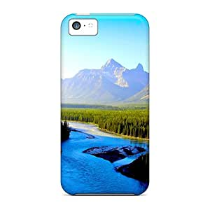 Excellent Iphone 5c Cases Covers Back Skin Protector Mountain River Flow