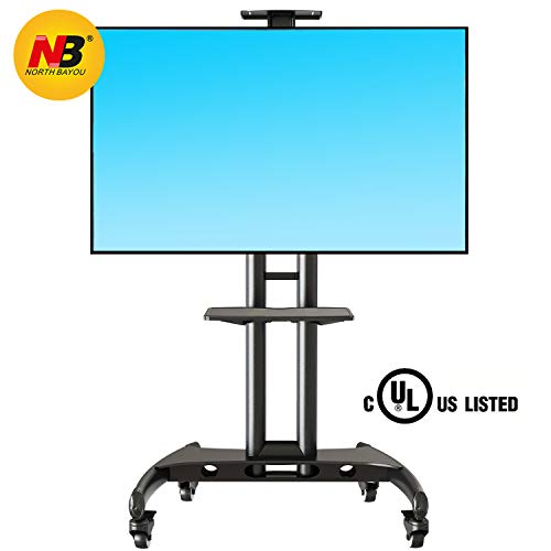 North Bayou Mobile TV Cart TV Stand with Wheels for 32 to 65 Inch LCD LED OLED Plasma Flat Panel Screens up to 100lbs AVA1500-60-1P (Black)