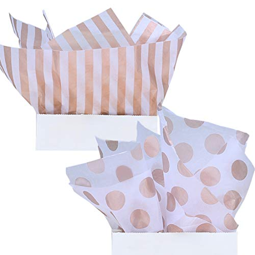 UNIQOOO 40 Sheets Premium Metallic Rose Gold Tissue Gift Wrap Paper Bulk - Stripe & Polka Dot Recyclable Gift Wrapping Accessory - Perfect for Gift Bags, Wedding, Party, DIY Crafts - 20