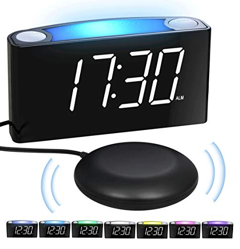 Alarm Clock with Bed Shaker, Digital Clock, 7'' Large Display & Full Dimmer, 7-Color Night Light, USB Chargers, 12/24 H, Easy Set, Loud Alarm for Bedroom Home Travel, Heavy Sleepers Deaf Seniors Kids