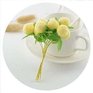 Souiey-shop 10pcs Lovely Foam Ball Artificial Flowers for Home Wedding Decoration DIY Pompom Wreath Gift Box Decorative Toys Fake Flowers,Yellow 92