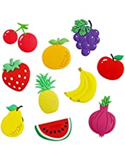 Rubber Fruit FridgeStickers, Funny Cartoon Refrigerator Decorations, Cute Whiteboard Decor Set for Kids Babies Toddlers Preschool Learning, (Assorted Color)