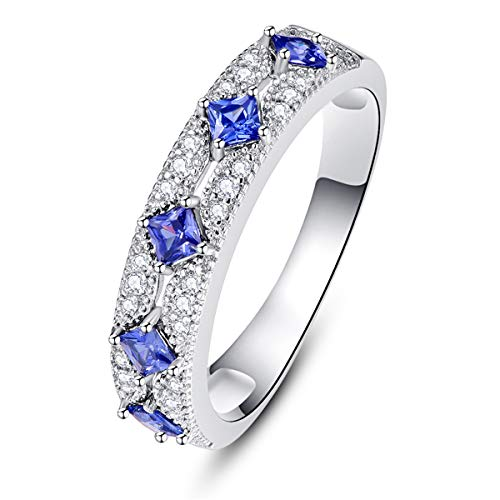 BONLAVIE 925 Sterling Silver Rings White Gold Plated Princess Cut Created Blue Sapphire White Clear Cubic Zirconia CZ Rings Size 7