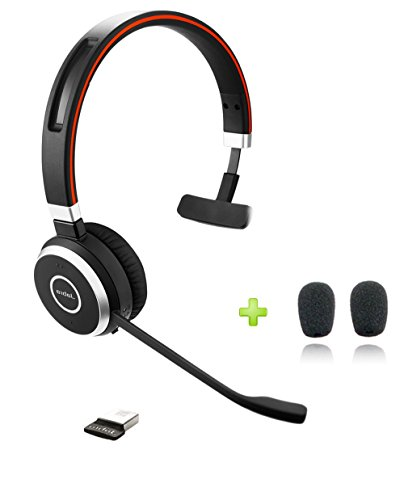 Jabra Evolve 65 Bluetooth UC Mono Headset Bundle | Bonus Mic Cushions and USB Dongle | Compatible with Softphones, Smartphones, Tablets, PC/MAC | 6593-829-409 (Headset Bluetooth Mono Wireless)