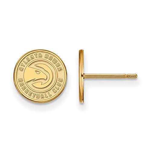 NBA Atlanta Hawks X-Small Post Earrings in 14K Yellow Gold by LogoArt