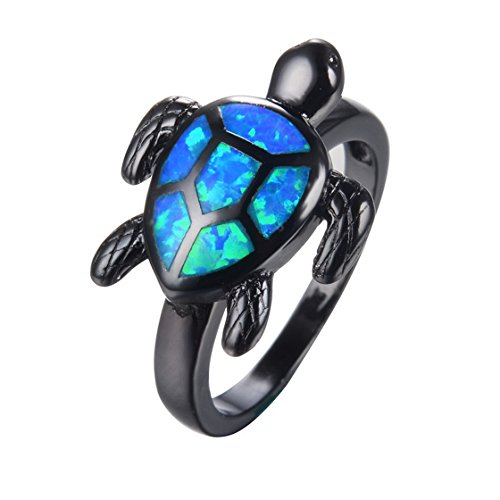 (SMILELY Unique Turtle Blue Fire Opal Animal Rings Wedding Vintage Black Gold Filled Cocktail Ring 6.0)