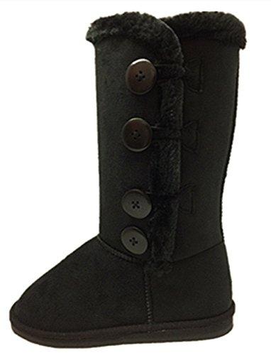 Women's Fur Mid-Calf 4 Buttons Faux Soft Snow Winter Flat Boot Shoes New (7.5, Black) ()