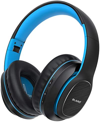 Bluetooth Headphones Over Ear, BLARO Hi-Fi Deep Bass Wireless&Wired Headsets, 72 Hours Playtime, Soft Memory Protein Earmuffs, Foldable Headphones with CVC6.0 Mic - Blue