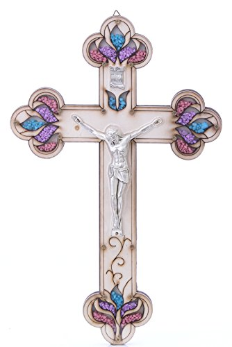 Beautifully Detailed Pewter Corpus Wall Wood Cross Crucifix Made in the Holy Land by Zuluf Factory HLG017