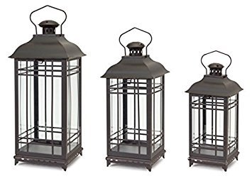 - Black Rust Metal and Glass Decorative Lanterns (set of 3)