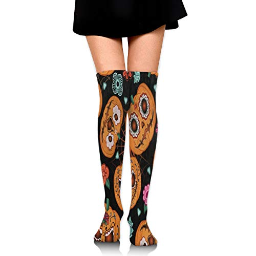 Stretch Socks Hipster Pumpkin Face Halloween Floral Socks Knee High Socking Stylish For Running,Athletic,Varicose Veins ()