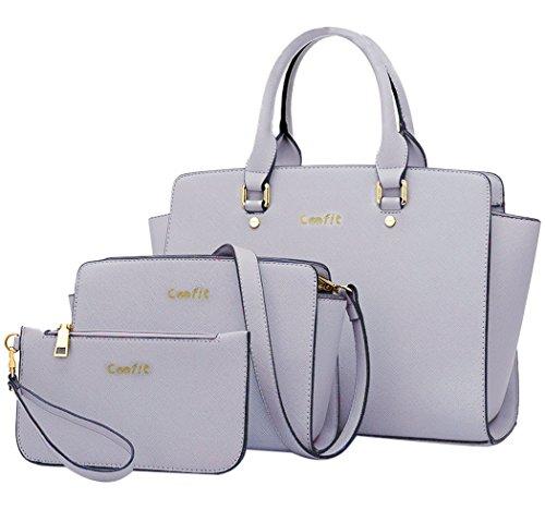 Coofit Moda Borse a Mano da Donna Style Borsa Tote Bag in PU Pelle 3 Pezzi