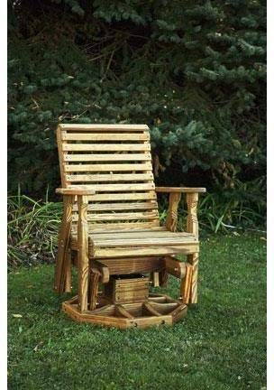 (Leisure Lawns Amish Made Yellow Pine Roll Back Swivel Glider Model #118 - Ships Free Within 2 to 3 Weeks)