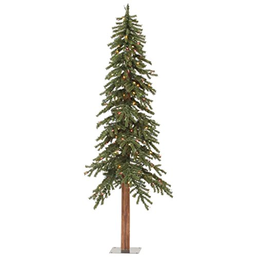 Vickerman Pre-Lit Natural Alpine Tree with 150 Multicolored Dura-Lit Lights, 5-Feet, Green Un-lit Trees