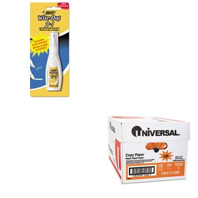 KITBICWOPFP11UNV21200 - Value Kit - BIC Wite-Out 2 in 1 Correction Fluid (BICWOPFP11) and Universal Copy Paper (UNV21200)