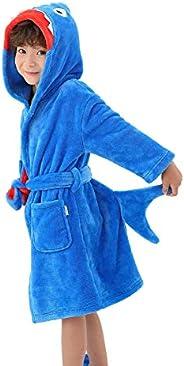 LOLANTA Boys' Girls' Hooded Bathrobe Soft Animal Plush Robe Kids Sleepwear Dressing G