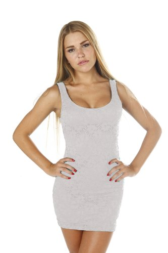 Lace Little Mini Dress Bodycon Fully Lined Sleeveless Stretchy Pencil Dress White Large