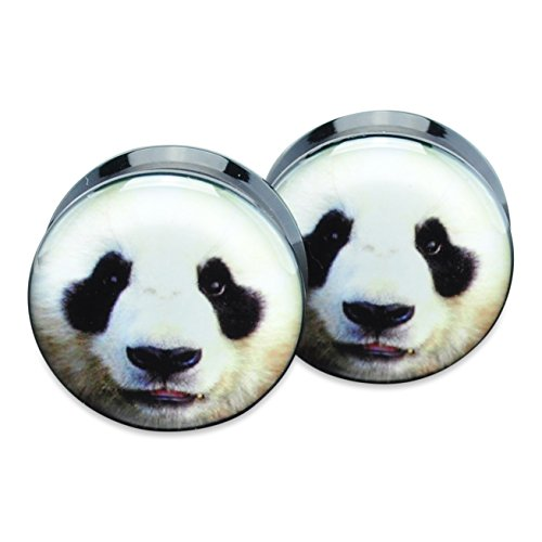 Pair Acrylic Ear Plugs Flesh Tunnels Stretchers Expanders Screw Panda Face (Flesh Ear Acrylic Tunnel Plugs)