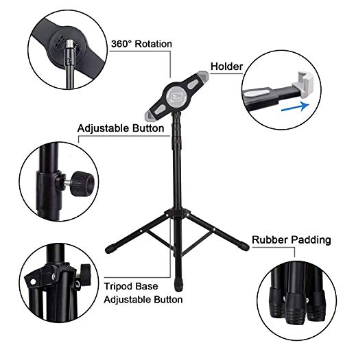 IPad Tripod Stand, Raking Foldable Floor Height Adjustable Tablet Tripod Stand for iPad Mini, iPad Air, iPad 1,2,3,4 and Most 7-12 Inch Tablets, Carrying Case and Flashlight as Gifts