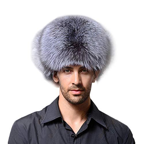 (XIANIWTA Men's Aviator Bomber Hat Faux Fur Leather Top Style Cap (Grey))
