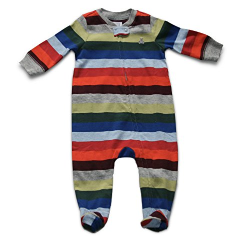 GAP Baby Boys Striped Long Sleeve Footed Zip Bodysuit One Piece Footies (3-6 Months) (Baby Gap Piece One)